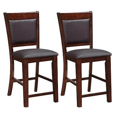 CorLiving – Chaises de salle à manger en cuir reconstitué à hauteur de comptoir DWG-384-B, brun, 2 pièces