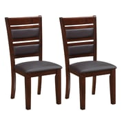 CorLiving DWG-484-C Bonded Leather Dining Chairs, Brown, 2-Piece