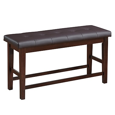 CorLiving DWG-880-S C Bonded Leather Counter Height Dining Bench, Brown