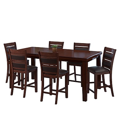 CorLiving DWG-880-Z4 Counter Height Extendable Dining Set, Warm Brown, 7-Piece