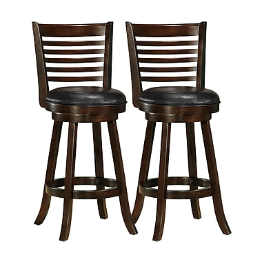 CorLiving DWG-999-B Woodgrove Bar Height Barstool with Bonded Leather Seat, Cappuccino, 2-Piece