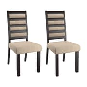 CorLiving DWP-312-C Bistro Ladder Back Dining Chairs, Cream, 2-Piece