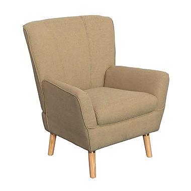 CorLiving LZY-766-C Demi Mid-Century Club Chair, Beige