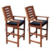 CorLiving PEX-263-C Miramar Hardwood Outdoor Bar Height Chairs, Cinnamon Brown, 2-Piece