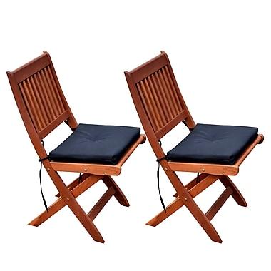 CorLiving – Chaises pliantes d'extérieur en bois massif Miramar PEX-369-C, brun cannelle, 2 morceaux