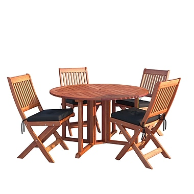 CorLiving PEX-369-Z Miramar Hardwood Outdoor Folding Dining Set, Cinnamon Brown, 5-Piece