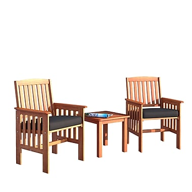 CorLiving PEX-864-Z Miramar Hardwood Outdoor Chair and Side Table Set, Cinnamon Brown, 3-Piece