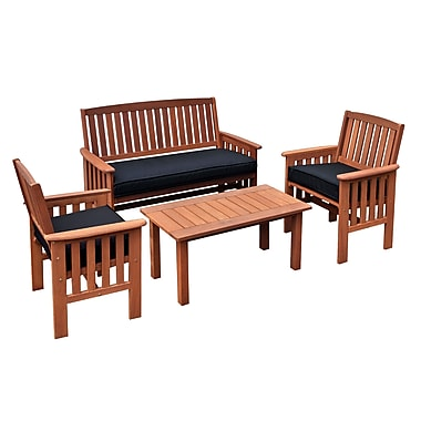 CorLiving – Ensemble table à café et chaises pliantes d'extérieur en bois massif Miramar PEX-868-Z, brun cannelle, 4 morceaux