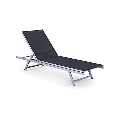 CorLiving PJR-309-R Gallant Outdoor Reclining Lounger, Silver and Black