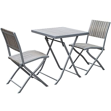 CorLiving PJR-372-S Gallant Outdoor Folding Bistro Set, Sun Bleached Grey, 3-Piece