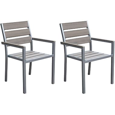 CorLiving PJR-571-C Gallant Outdoor Dining Chairs, Sun Bleached Grey, 2-Piece