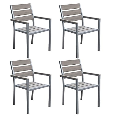 CorLiving PJR-572-C Gallant Outdoor Dining Chairs, Sun Bleached Grey, 4-Piece