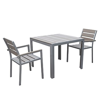 CorLiving PJR-573-Z1 Gallant Outdoor Dining Set, Sun Bleached Grey, 3-Piece