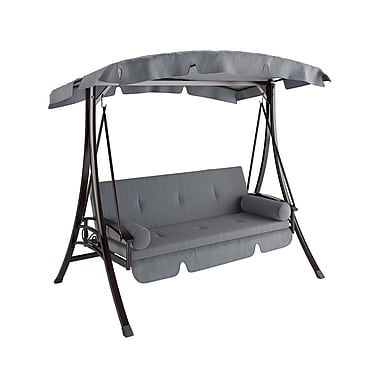 CorLiving PNT-532-S Nantucket Daybed Patio Swing, Charcoal and Grey