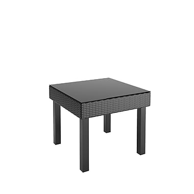 CorLiving – Table d'appoint pour patio PPO-801-T Oakland, tissage texturé noir