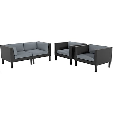 CorLiving PPO-807-Z Oakland Loveseat and Chair Patio Set, Dove Grey and Black, 4-Piece