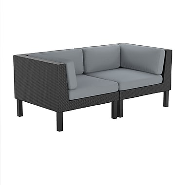 CorLiving PPO-809-Z Oakland Loveseat Patio Set, Dove Grey and Black, 2-Piece