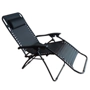 CorLiving PPR-402-R Riverside Zero Gravity Patio Lounger, Black