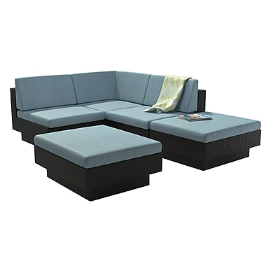 CorLiving PPT-341-Z Park Terrace Sectional Patio Set, Teal and Black, 5-Piece