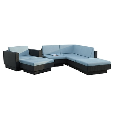 CorLiving PPT-343-Z Park Terrace Sectional Patio Set, Teal and Black, 6-Piece