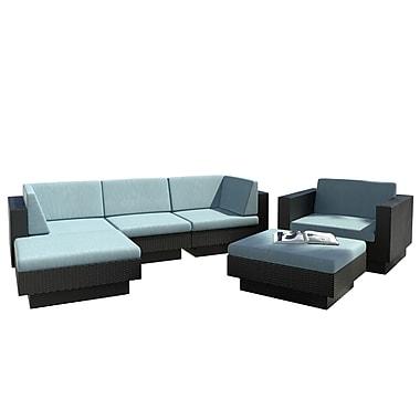 CorLiving – Ensemble de patio modulaire à accoudoirs doubles PPT-345-Z Park Terrace, sarcelle et noir, 6 pièces