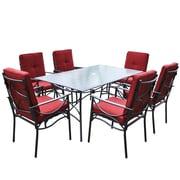 CorLiving – Ensemble de salle à manger de patio PZT-854-S, noir anthracite et rouge, 7 pièces