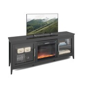 CorLiving – Banc pour téléviseur Jackson Fireplace jusqu'à 80 po, TFP-604-Z, similicuir noir au fini grain de bois