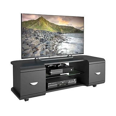 CorLiving – Meuble pour téléviseur jusqu'à 57 po avec roulettes TMM-102-B, noir