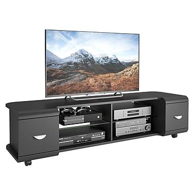 CorLiving – Meuble pour téléviseur jusqu'à 73 po avec roulettes TMM-104-B, noir