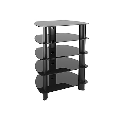 CorLiving TRL-801-C Laguna Glass Component Stand, Satin Black