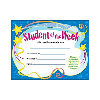 Trend Enterprises® Student of The Week Certificate, 8 1/2