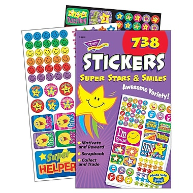 Trend Enterprises Sticker Pad, Super Stars & Smiles, 3690/Pack (T-5010)