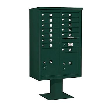 Salsbury Industries 13 Door Front Load 4C Horizontal Cluster Box Unit w/ 2 Parcel Lockers; Green