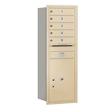 Salsbury Industries 5 Door Front Load 4C Horizontal Mail Center w/ 1 Parcel Locker; Sandstone