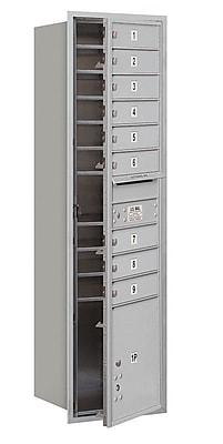 Salsbury Industries 9 Door Front Load 4C Horizontal Mail Center w/ 1 Parcel Locker; Aluminum