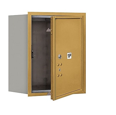Salsbury Industries Aluminum 1 Unit High 4C Horizontal Mailbox Parcel Locker; Gold