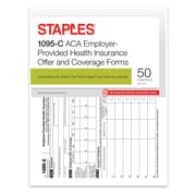 Staples® 2016 ACA 1095-C Employer-Provided Coverage Forms, Inkjet/Laser, 3-Part, 50/PK
