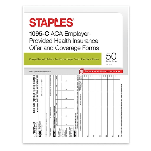 Staples 2016 Aca 1095 C Employer Provided Coverage Forms Inkjet