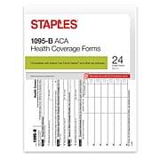Staples® 2016 ACA 1095-B Health Coverage Forms, Inkjet/Laser, 24/PK