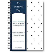 """It's That Kinda Day®School & After School Planner, Undated, Monthly/Weekly, 12 Months,9"""" x 6"""", Navy Polka Dots (ITKSNPD)"""