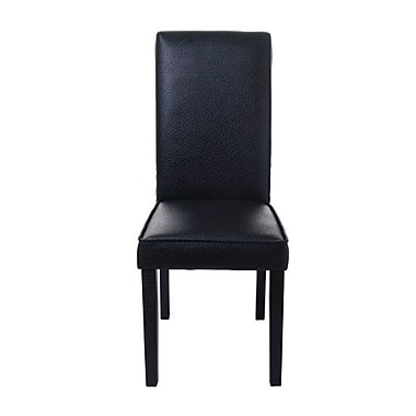HomCom Parsons Upholstered Dining Chair; Faux Leather Black