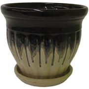 Craftware Ceramic Pot Planter w/ Saucer; Black Fusion