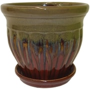 Craftware Ceramic Pot Planter w/ Saucer; Red Fusion