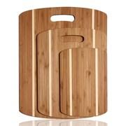 AdecoTrading 3 Piece 100pct Natural Bamboo Chopping Board Set