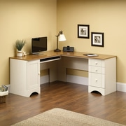 Sauder Harbor View Corner Computer Desk Antiqued, White
