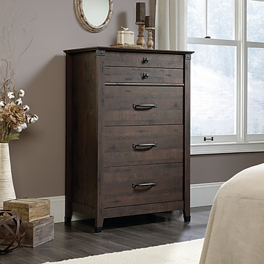 Sauder Carson Forge 4 Drawer Chest, Coffee Oak