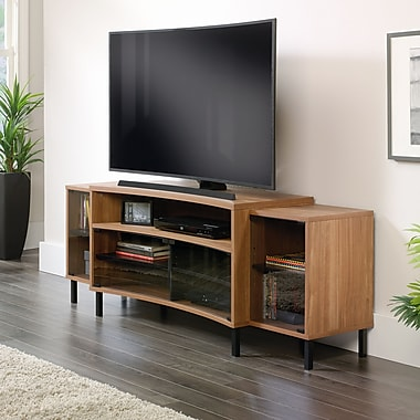 Sauder Curved Entertainment Credenza, Fine Walnut