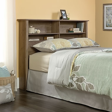 Sauder – Tête de lit complet et grand lit bibliothèque County Line, chêne salé