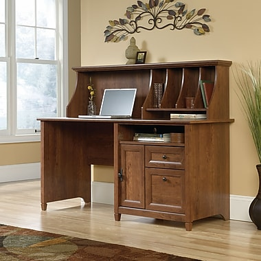Sauder Edge Water Computer Desk W/Hutch, Auburn Cherry