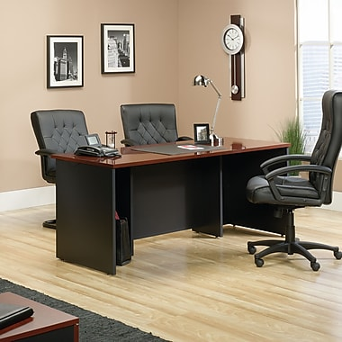 Sauder Via Executive Desk Classic, Cherry/Soft Black
